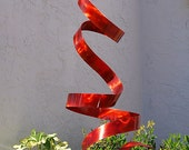 Bright Red Freestanding Abstract Sculpture - Indoor-Outdoor Contemporary Metal Art - Garden Sculpture, Yard Art - Red Twist by Jon Allen
