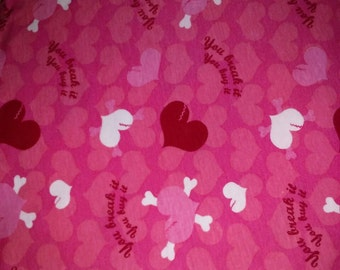 Cotton jersey knit fabric You Break it You Buy it hearts pink