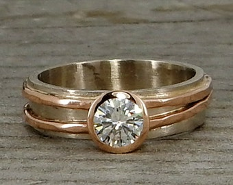 Eco-Friendly Moissanite, Recycled 14k Rose Gold, and Recycled 14k Palladium White Gold Wedding or Engagement Ring, Made to Order