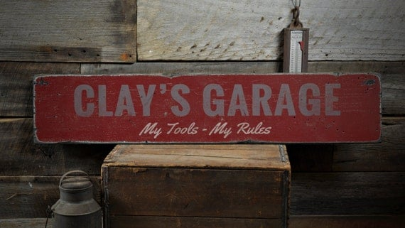 My Tools My Rules Garage Wood Sign Personalized Mechanic Name