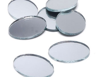 16 ct - OVAL 1 X .75 inch SILVER Mirror Glass Mosaic Tiles