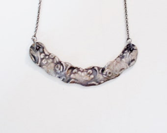 Sterling Floral Curve Necklace, Sterling Silver Necklace, Sterling Silver chain, Handmade Jewelry, Artisan Jewelry
