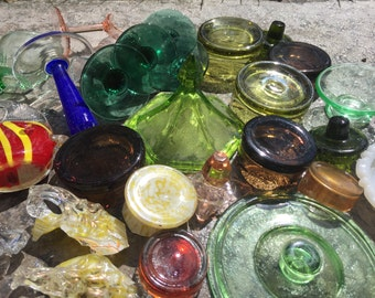 Mix of Colors Fillers  Mosaic Tiles Broken Plate Pieces Art Tesserae Large lot of 30 glass bottoms and lids color