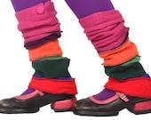 Pink Button Rainbow Legwarmers