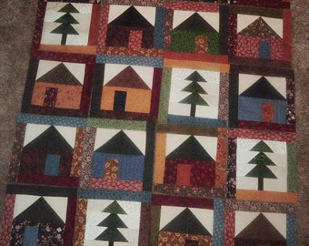 Set of 20 Quilt Blocks Presewn Already Pieced Scrappy Framed Houses and Trees 8 1/4 inches