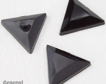 13mm Jet Faceted Triangle Cabochon (16 Pcs) #3948