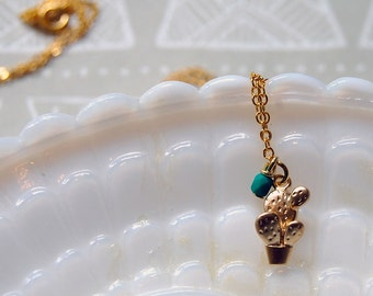 tiny matte gold potted cactus necklace - matte teal bead accent
