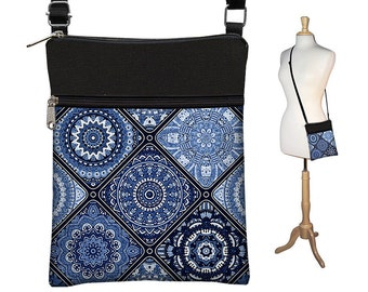 Small Shoulder Bag Purse, Crossbody Bag, Fabric Purses, Cross Body Bag,  Asian Porcelain Blue Bohemian Bag, strap, zipper, pockets  RTS