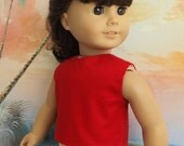 American Girl Doll Clothes Solid Red Modified Crop Top NEW Style