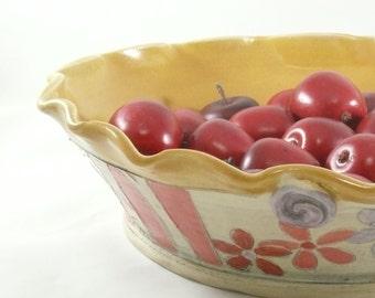Pie Baking Pan, Pottery Bakeware, Ceramic Pie Dish, Pie Serving Plate, Yellow Quiche Baker, Decorative Kitchen Bakeware, Wedding Gift 450