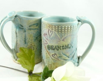 Personalized GRANDMA Mug Coffee Cup  w/ dragonflies + hearts for grandmother, pottery and ceramics, grandma, nana, mom   pottery mug