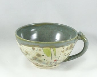 Latte mug -  large soup bowl with handle - teacup  in woodland design with dog - handled bowl - cappucino cup - soup mug SM244