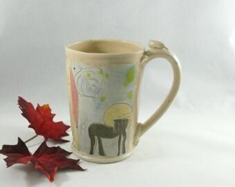 Pottery Mug with Chestnut Brown Bay Horse Holds 20 Ounces, Coffee cup, beer stein tankard, tea mug, teacup, latte mug, drinking vessel WM323