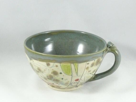Latte mug -  large soup bowl with handle - teacup  in woodland design with dog - handled bowl - cappucino cup - soup mug SM244