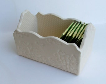 Slab Built, Handmade Ceramic  White Stoneware Box