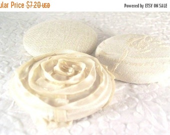 CLEARANCE Ivory buttons, fabric covered buttons, size 75 buttons