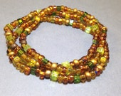 RESERVED for JUDY - Amber & Green Bracelet - Beaded Stretch Bracelet - Friendship Bracelet - Stackable Bracelets - Wrap Bracelet