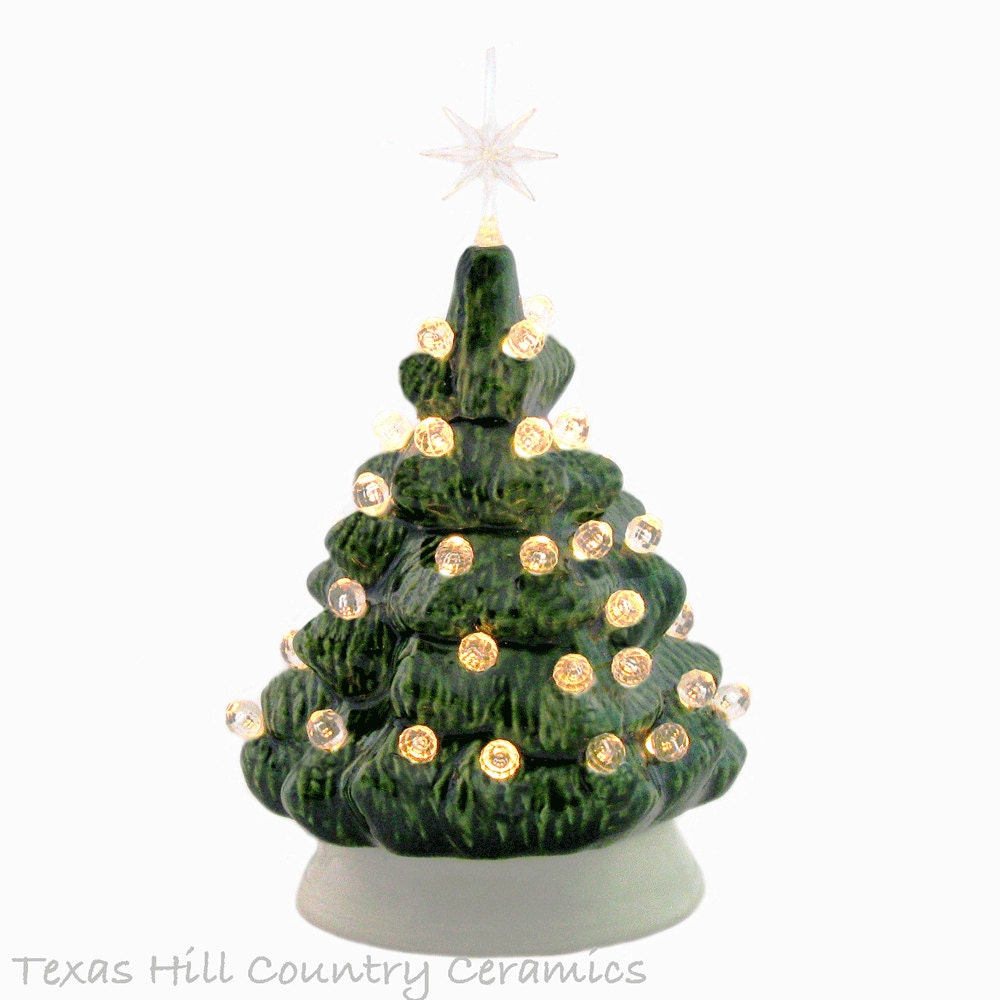 Small Mini 6 Inch Ceramic Christmas Tree In Green By