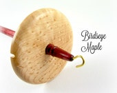 Lightweight Birdseye Maple and Purpleheart Top Whorl Drop Spindle