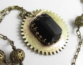Black Tourmaline Crystal Set in Vintage Brass Gear Necklace