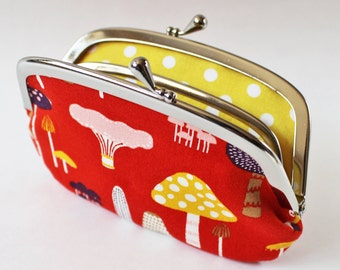 Coin purse wallet - mushrooms on red yellow pink navy forest woodland kiss lock frame purse fall autumn change purse