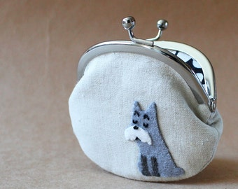 Coin purse / change purse - Mr. Grumpy Schnauzer gray dog on natural linen kiss lock coin purse clasp purse children kids quirky grey