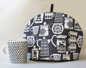Tea cozy / Tea cosy - tea pots and tea cups on dark gray, quilted tea cozy, retro mod kitchen tea lover, charcoal gray padded tea cozy