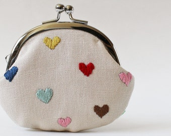 hearts coin purse kiss lock coin purse change purse multi-color hand-embroidered hearts natural linen red mint embroidery valentine's day