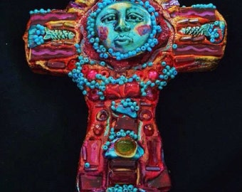 Exotic Red Mosaic Cross by Bluemoose ART