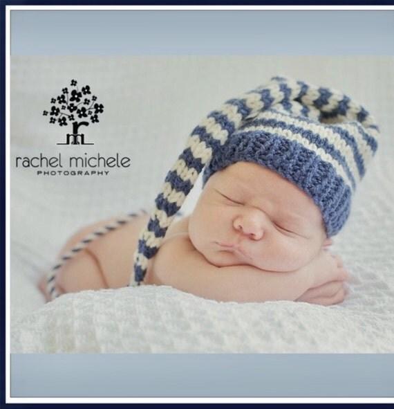 Newborn Baby Boy Hat PHoTO PRoP Denim Blue Ivory Stripe Stocking Cap LoNG TAiL Beanie CoMiNG HoME Pixie Toque CoZY Elf Cap CHooSE CoLOR Gift