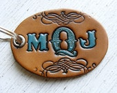 Personalized Keychain Monogrammed Leather Hand Tooled