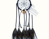 Black Dream Catcher, Peacock Eyes Feathers