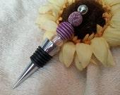 Purple Beaded Wine Bottle Stopper