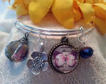 Modern charm bracelet - stackable  - cabochon, flower, crystals