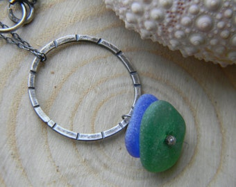 Sea Glass Pendant Necklace - cobalt blue and kelly green - oxidized silver