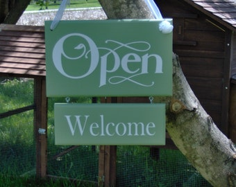 Whimsy Green Open Welcome Closed Please Come Again Double Side Two Tier Wood Vinyl Sign Business Sign Office Supply Door Hanger Welcome
