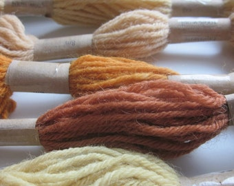 5 Skeins Naturally Dyed Yellow, Gold, Brown Tapestry Wool