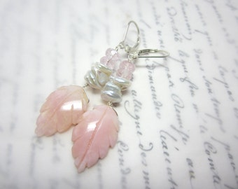 Pink Opal Leaf Earrings.  Pink Opal Keishi Pearl Pink Morganite Earrings.  Gemstone Earrings.