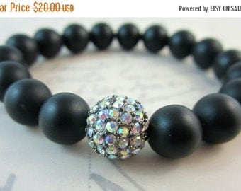 CIJ 35% OFF Black Onyx and AB Rhinestone Stretch Bracelet.  Holiday Jewelry.  Gifts for Her.