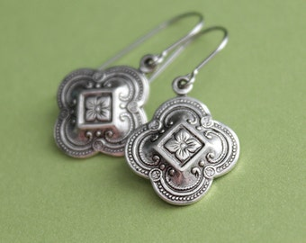 Small Quatrefoil Earrings - Silver or Brass