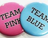 Team Pink Team Blue - Set of 24 Gender Reveal Baby Shower Pinback Buttons - 2.25 inch diameter