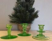 Winter sale Vintage Green Chrismas Candle Holders