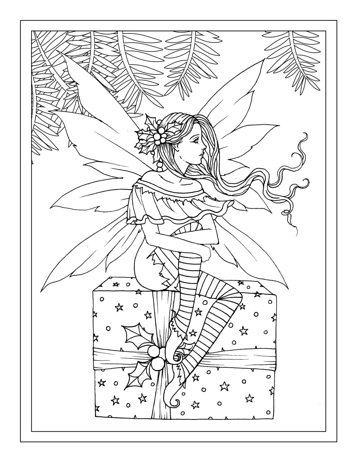 christmas fairy sitting on gift printable instant download adult coloring page holiday. Black Bedroom Furniture Sets. Home Design Ideas