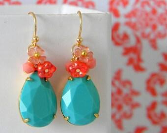 Aqua Blue Salmon Pink Coral  Flower Earrings