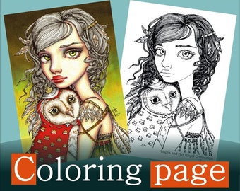 Athena and her Royal Companion - COLORING PAGE colouring for adults instant DOWNLOAD printable file fairy owl bird art fashion girl