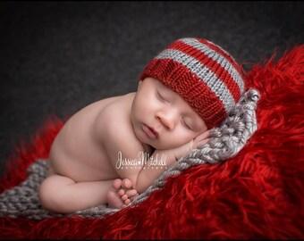 Jacob - Perfect Fit Newborn Beanie crimson scarlet red gray grey baby hat