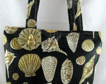 Medium Tote Bag, Shoulder Bag, Nautical Bag, Seashell Print, Work Bag, Book Bag, Device Bag, FREE SHIPPING