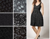Custom Cotton V-Neck Fit and Flare Dress with Pockets  - Black Charcoal Print Options