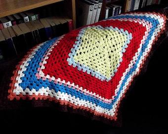 Vintage Granny Square Doll's Blanket in multi coloured acrylic yarn