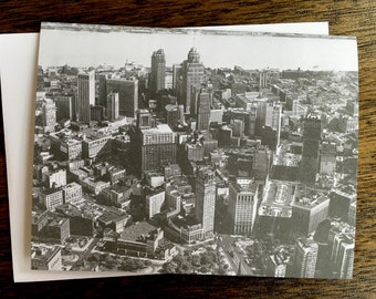 Detroit Vintage Aerial Photograph Greeting Card - Blank Inside